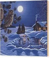 Moonlight Magig-great Horned Owls Wood Print