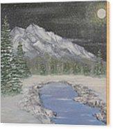 Moonlight Mountain Wood Print