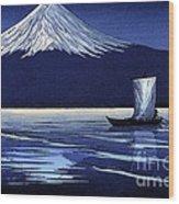 Moonlight On Fujiyama Wood Print