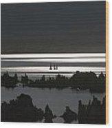 Moonlight On Mono Lake Wood Print