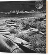 Moonlight On The Bay Wood Print