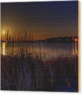 Moonlight On The Lake Wood Print