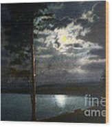 Moonlight On Yellowstone Lake Wood Print