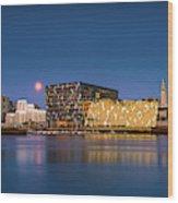 Moonlight Over Reykjavik Harbor Wood Print