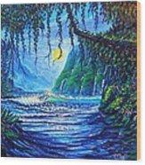 Moonlight Path To Paradise Wood Print