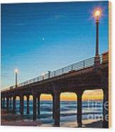 Moonlight Pier Wood Print