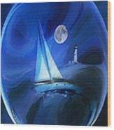 Moonlight Sail Wood Print