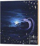 Moonlight Swim Wood Print by Jacquelyn Roberts
