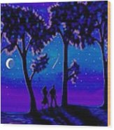 Moonlight Walk Wood Print