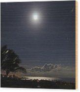 Moonlit Bay Wood Print