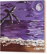 Moonlit Beach Wood Print