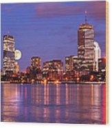 Moonlit Boston On The Charles Wood Print