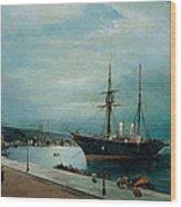 Moonlit Harbour Of Volos Wood Print