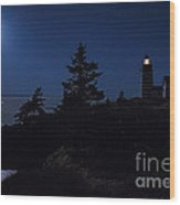 Moonlit Panorama West Quoddy Head Lighthouse Wood Print