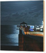 Moonlit Pier Wood Print by Laura Fasulo