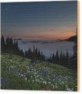 Moonlit Rainier Meadows Sunset Wood Print
