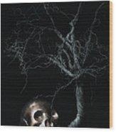 Moonlit Skull And Tree Still Life Wood Print by Tom Mc Nemar