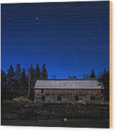 Moonlit Starscape At The Old Smokehouse Wood Print