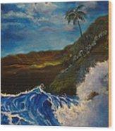 Moonlit Wave 11 Wood Print
