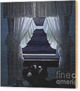 Moonlit Window Wood Print