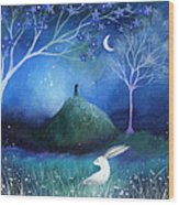 Moonlite And Hare Wood Print by Amanda Clark