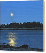 Moonrise Acadia National Park Wood Print