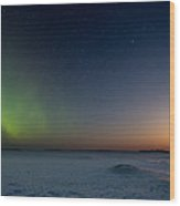 Moonrise And Aurora Wood Print