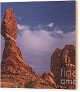 Moonrise At Balanced Rock Arches National Park Utah Wood Print