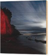 Moonrise At Clearville Beach Wood Print