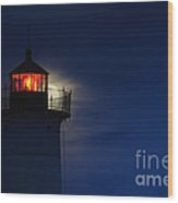 Moonrise At Nubble Lighthouse Wood Print