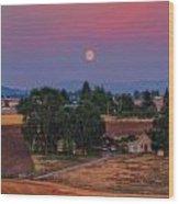 Moonrise At Sunset Wood Print by Dan Quam