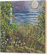 Moonrise At Sunset Wood Print