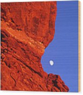 Moonrise Balanced Rock Arches National Park Utah Wood Print