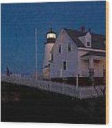 Moonrise Behind Pemaquid Point Light Wood Print