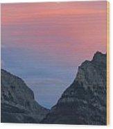 Moonrise Mountains Wood Print