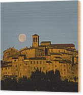Moonrise Over Anghiarri Wood Print
