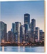 Moonrise Over Chicago Skyline Wood Print