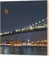 Moonrise Over Manhattan Wood Print