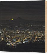 Moonrise Over Portland Oregon Cityscape Wood Print