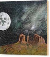 Moonrise Over Sedona Wood Print