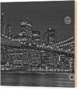 Moonrise Over The Brooklyn Bridge Bw Wood Print