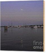 Moonrise Over The Harbor Wood Print
