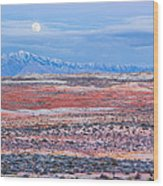 Moonrise Over Virgin Peak Wood Print
