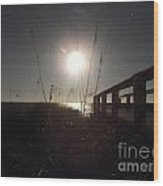 Moonrise With Boardwalk 2 Wood Print