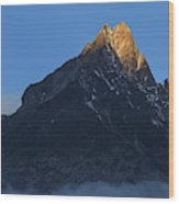 Moonset And Alpenglow Over A Snow Peak Wood Print