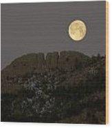 Moonset Over Horsetooth Wood Print