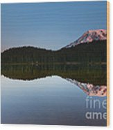 Moonset Over Rainier Wood Print