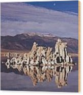 Moonset Over Tufa Wood Print