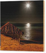 Moonset Over Windnsea Wood Print