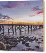 Moonta Bay Jetty Sunset Wood Print by Shannon Rogers